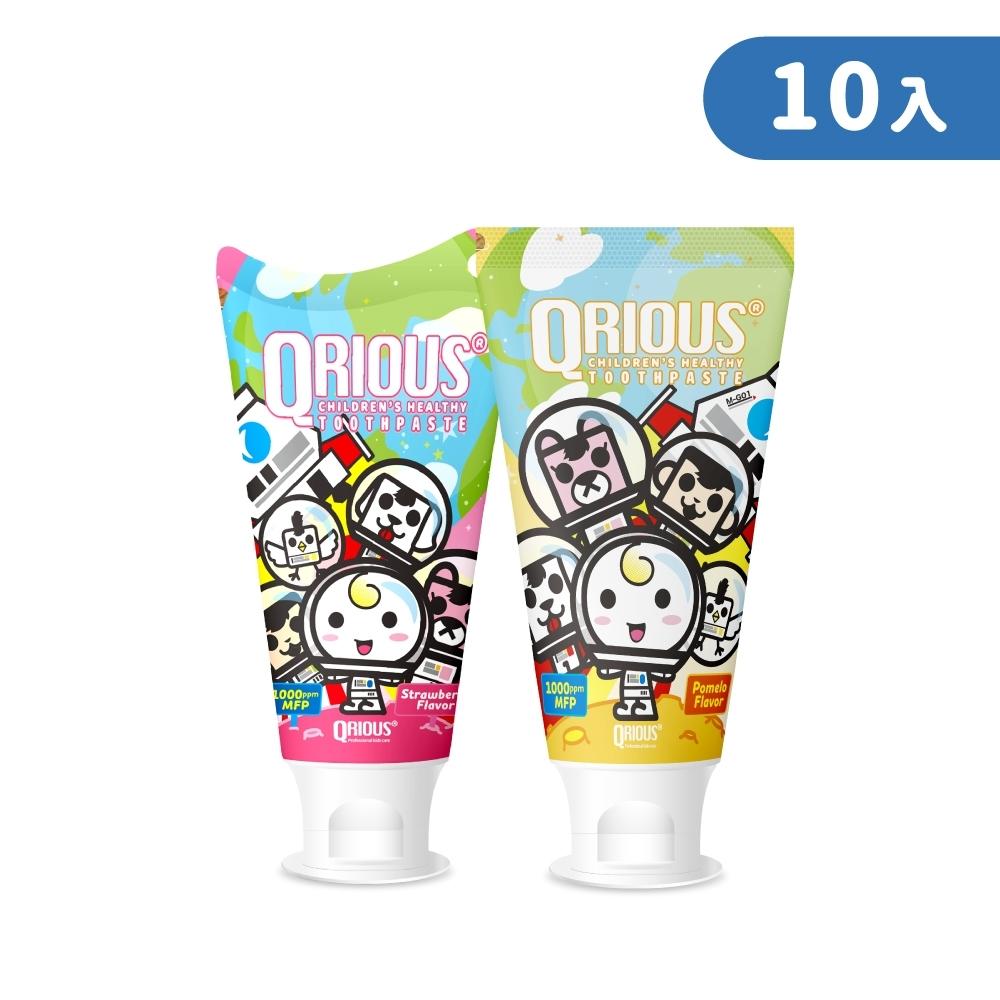 【夏日健康寶貝】QRIOUS®奇瑞斯雙效紫錐菊護齒膏-蜜蜜粉草莓(5入)+經典黃金柚(5入)